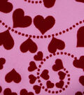 Spring Satin Fabric 31\u0022-Flocked Hearts On Pink