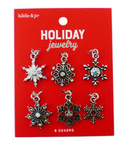 hildie & jo Holiday 6 pk Multi Snowflake Charms-Silver, , hi-res