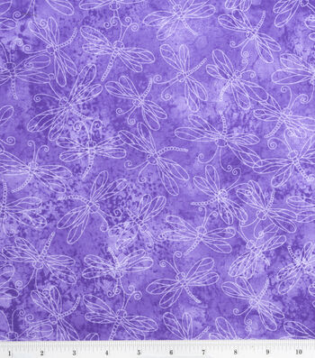 "Keepsake Calico Fabric 44""-Sundrenched Dragonfly on Lavender"