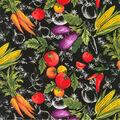 Novelty Cotton Fabric-Market Fresh Black