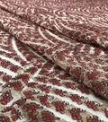 Casa Embellish Dahlia Fabric-Peach Blush Embellished Sequin