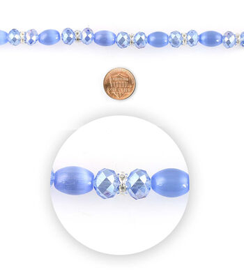 Blue Moon Bead Strands Cat's Eye Crystal Blue