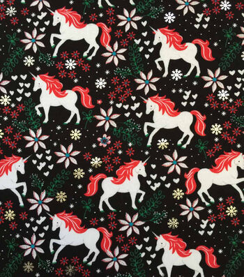 "Doodles Christmas Cotton Fabric 57""-Holiday Unicorn With Foil On Black"