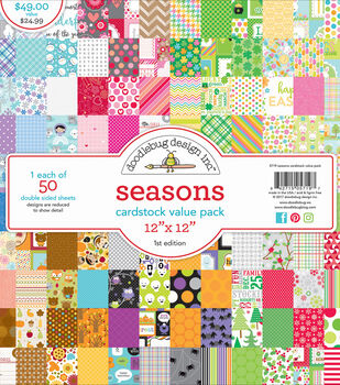 "Doodlebug Value Kit Cardstock 12""X12""-Seasons"
