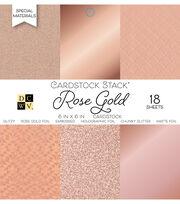 DCWV 18 Pack 6''x6'' Cardstock Stack-Rose Gold, , hi-res