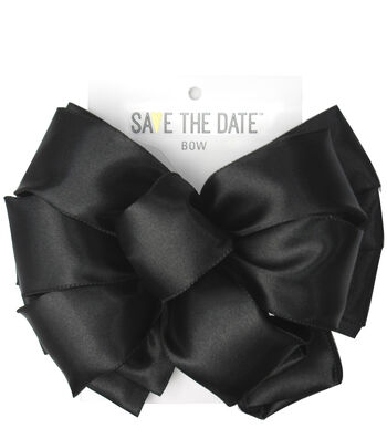 """Save the Date 2.5"""" Bow-Black Satin"""
