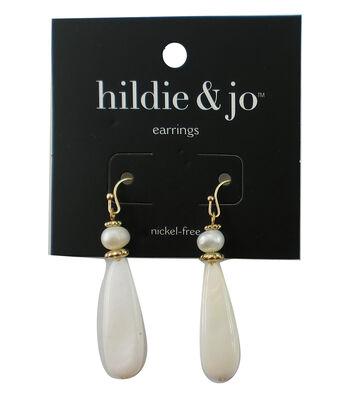 hildie & jo Oblong Shell Dangle Gold Earrings