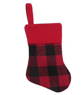 Maker's Holiday Christmas Buffalo Check Mini Stocking-Black & Red Plaid