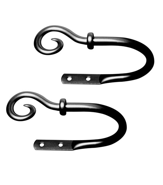 Kenney Medieval Hook Decorative Holdbacks Black, , hi-res, image 1