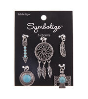 hildie & jo Symbolize 5 pk Bird Feather Charms-Turquoise, , hi-res