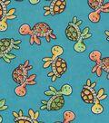 Snuggle Flannel Fabric -Sweet Turtles Swimming