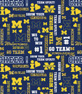 University of Michigan Wolverines Cotton Fabric 44\u0022-Glitter