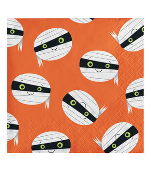 Maker's Halloween 20 pk 5''x5'' Beverage Napkins-Mummy Faces