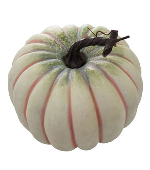 Blooming Autumn Large Realistic Pumpkin-White