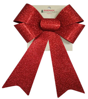Handmade Holiday Christmas 9''x16.25'' Glitter Bow-Red