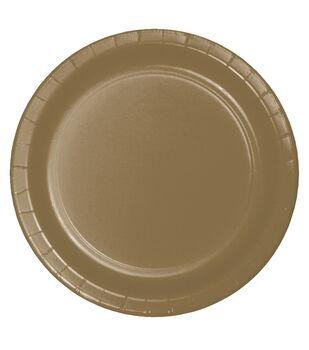 8ct Large Paper Plate-Metallic Gold