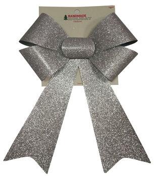 Handmade Holiday Christmas 9''x16.25'' Glitter Bow-Silver