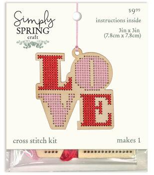 Simply Spring Craft Valentine's Day Wood Love Cross Stitch Kit
