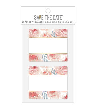 Save the Date 20 pk 3.5''x2.25'' Rectangle Adhesive Labels-Floral