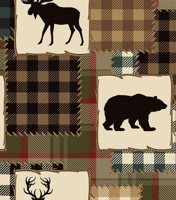 Anti Pill Fleece Fabric 58''-Bear & Lake Silhouette Patch