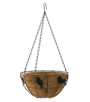 In the Garden 14'' Perching Birds Hanging Basket