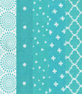Fat Quarter Bundle Cotton Fabric 5-Pieces 18\u0027\u0027-Floral on Turquoise