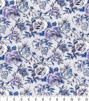 Keepsake Calico Cotton Fabric-Purple Sketched Floral