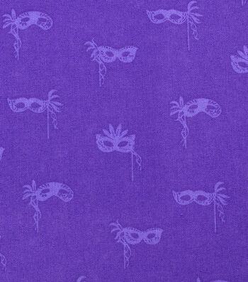 Mardi Gras Cotton Fabric-Masks Purple