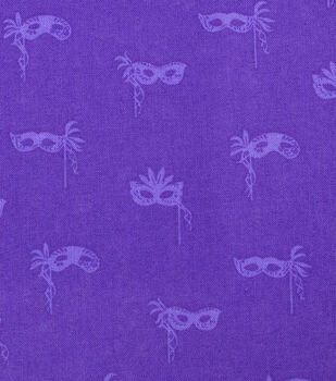 Mardi Gras Cotton Fabric-Masks Purple