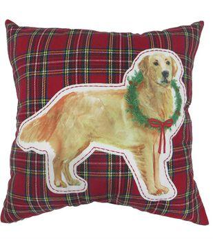 Handmade Holiday Christmas 18''x18'' Pillow-Dog on Tartan