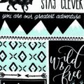 Nursery Flannel Fabric -Mint, Black & White Be Brave Patch