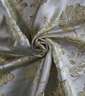 Brocade Fabric -Gold Rose on White