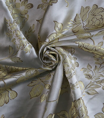 "Brocade Rose Fabric 44""-White Gold"