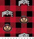 Ohio State Buckeys Fleece Fabric-Buffalo Plaid