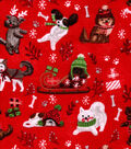 Snuggle Flannel Fabric 42\u0027\u0027-Holiday Pups on Red