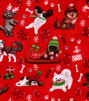 Snuggle Flannel Fabric -Holiday Pups on Red