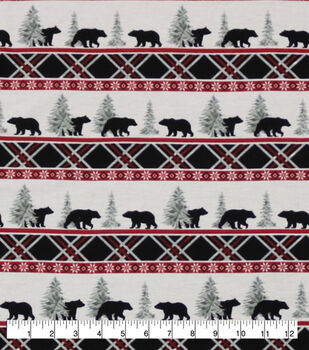 Super Snuggle Flannel Fabric-Black Bear Plaid Stripe