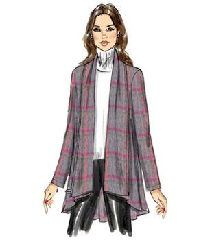 Vogue Pattern V9213 Misses' Draped-Collar Vest & Jackets-Size 4-14