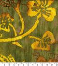 Cotton Batik Apparel Fabric 42\u0022-Green Gold Textured Leaf