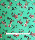 Knit Prints Double Brushed Poly Fabric-Seafoam Coral Floral Sprays
