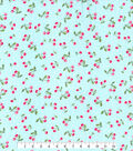 Gertie Rayon Fabric -Tossed Cherries on Turquoise