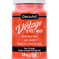 DecoArt Vintage Effect Wash 8 fl. oz. Color Wash Paint-Red Orange