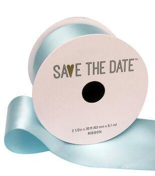 Save the Date Satin Ribbon 2.5''x30'-Light Blue