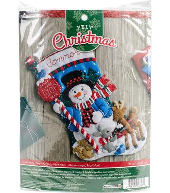 "Santa Stop Here Stocking Felt Applique Kit 18"" Long"