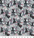 Novelty Cotton Fabric-Cats With Glasses Black & White