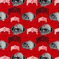 Ohio State University Buckeyes Cotton Fabric -Gray Helmets