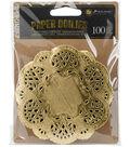 Prima Marketing Paper Doilies 4\u0022 100/Pkg-Round Gold