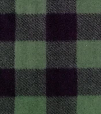 Anti-Pill Plush Fleece Fabric-Forest Green & Black Buffalo Checks