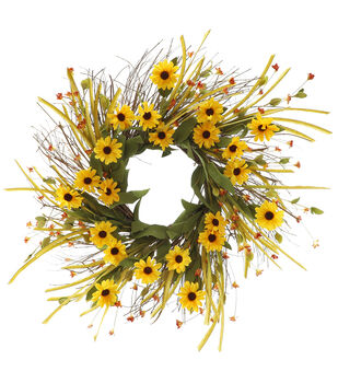 Blooming Autumn Yellow Daisy & Wildflower Wreath