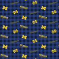 Michigan Wolverines Flannel Fabric-Checks